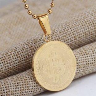 Gold Bitcoin Pendant Necklace