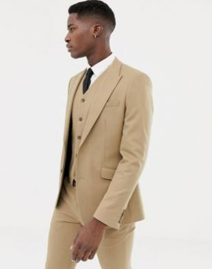 Asos skinny suit jacket in camel micro texture