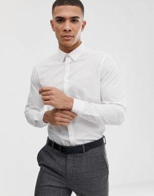 Poplin shirt in regular fit in white