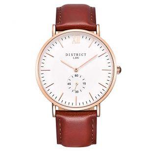 District London Oxford Edition Mens Watch - Slim Light Brown Leather Band Quartz Rose Gold Wrist Watch - Business Fashion Unisex Thin Dress Timepiece