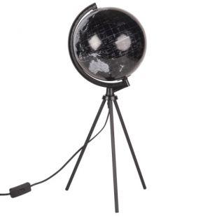 Lampe trépied en métal noir et globe terrestre carte du monde   Maisons du Monde