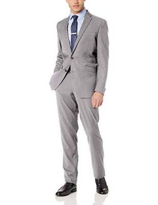 Kenneth Cole REACTION Men's Stretch Slim Fit Suit, Light Grey Basketweave, 40R