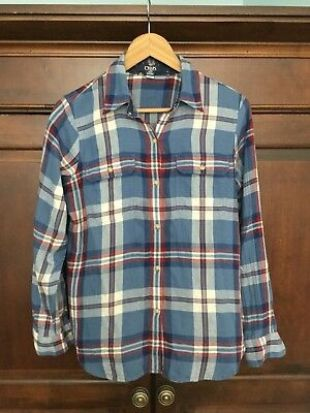 Chaps Womans Cotton Twill Button Down Blue Plaid Long Sleeve Shirt