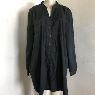 Woman Within Tunic Top Black Pintuck Split V Neck Long Sleeve Button Up Shirt