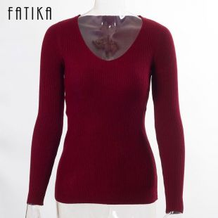 Cotton Sweater Women Autumn Winter V Neck Pullovers Long Sleeve For Ladies Solid  | eBay