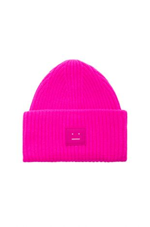 Pansy Face Beanie in Bright Pink