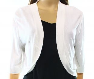 Eliza J NEW White Women's Size XL Cropped Open-Front Shrug Sweater $49- #661