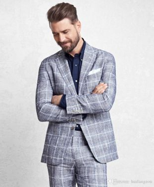 New Fashion Grey Grid Mens Suit Custom Made Groom Suit Wedding Suits For Best Men Two Piece Jacket Pants Gentlemen Groom Tuxedos Wedding Suits For Men Boys Suits From Huifangzou, $89.63| DHgate.Com