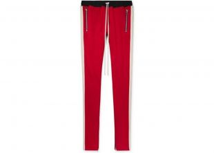 Red and Off-White Knit Track Pants
