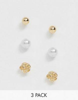 Asos Lot de 3 paires de boucles d'oreilles perles et rose