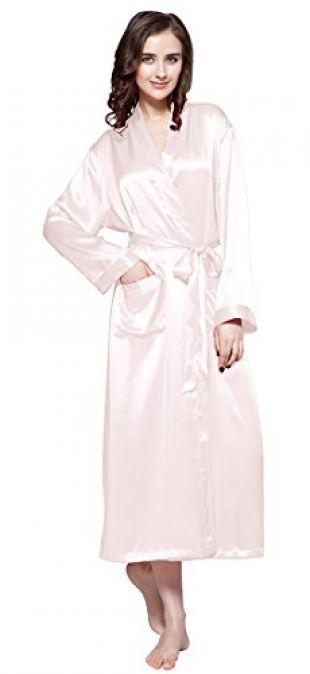 LILYSILK Robe De Chambre en Soie Femme à Manches Longues Peignoir Style Kimono 22 Momme (XS, Rose Clair)