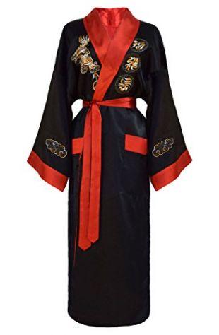Kimono japonais réversible noir et rouge pour femme