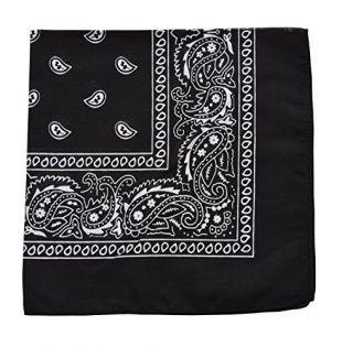 Raylarnia Novelty Bandanas Paisley Cotton Bandanas-Black