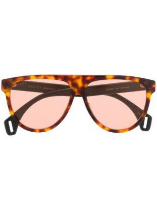 Gucci tortoiseshell aviator frame sunglasses