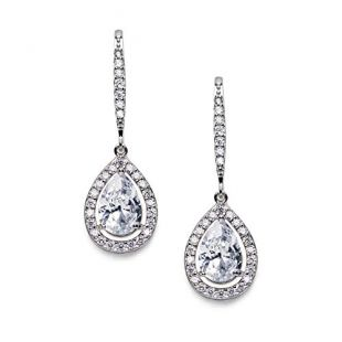SWEETV Teardrop Wedding Earrings for Brides, Bridesmaids, Cubic Zirconia Dangle Earrings for Prom, Party, Formal Occasion,Silver