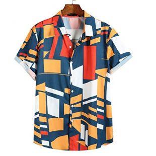 Geometric Printed  Shirts Blue