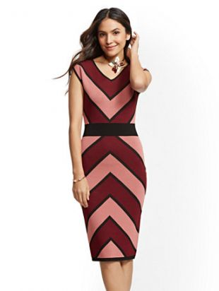 Chevron Stripe Sheath Sweater Dress