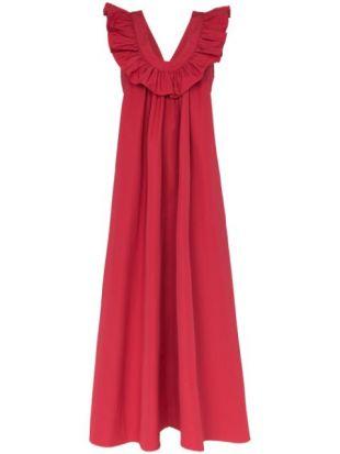 Geraldine Ruffle Neck Maxi Dress