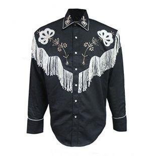 Rockmount Mens Black Fringe Vintage Western Cowboy Shirt