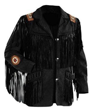 LEATHERAY Men's Fashion Western Fringed & Beaded Jacket Suede Leather Black 4XL
