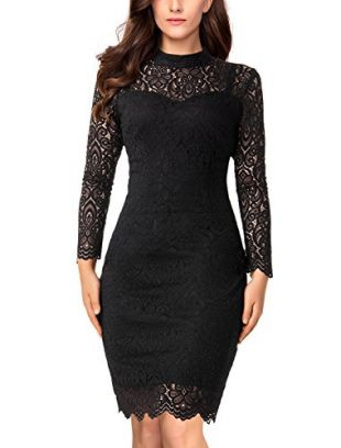 Noctflos Women's Black Lace Cocktail Holiday Party Bodycon Dress with Long Sleeve