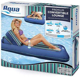 "Aqua Premium Convertible Pool Lounger, Inflatable Pool Float, Heavy Duty, X-Large, 74"" – 90"", Navy/Green/White Stripe"