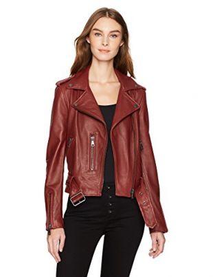 Bagatelle Women's Washed Leather Biker Jacket, Paprika, XS