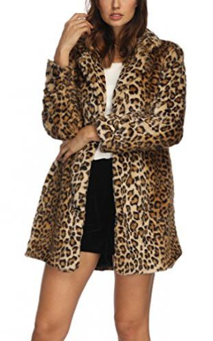 Women's Leopard Faux Fur Coat Winter Outerwear Long Sleeves Warm Jacket Sexy Lapel Overcoat,S Leopard