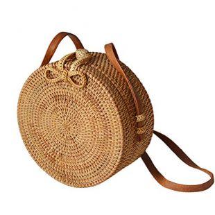 Sac à Main en Bambou,yunt fourre-Tout tissé à la Main Sac à Main Sac de Plage en Paille Demi-Lune Sac pour Femme