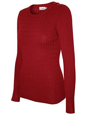 Cielo Women's Basic Solid Stretch Crewneck Cable Knit Pullover Sweater Red XL