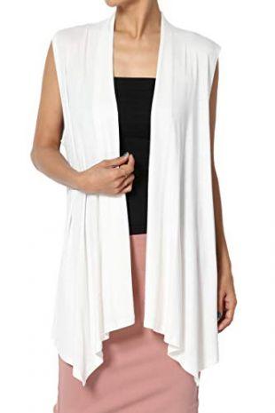 TheMogan Women's Sleeveless Waterfall Jersey Cardigan Asymmetric Vest Ivory L