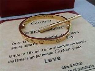 Authentic CARTIER Love Bracelet 18K Yellow Gold Size 18 Bangle