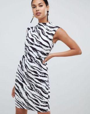 Mini Pencil Dress with Tuck Detail in Zebra Print