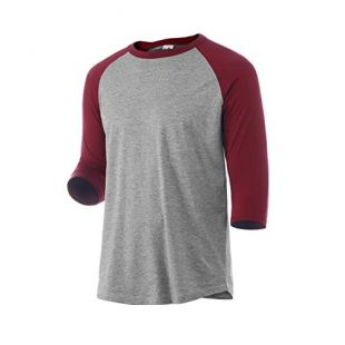 Rich Cotton Raglan T-Shirt (3XL, Grey/Burgundy)