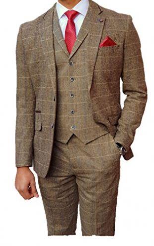 Men's 3 Piece Tweed Peaky Blinders Style Tan Brown Check Suit 36R Jacket 30R Trousers