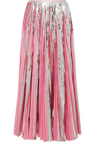 Pleated metallic coated-crepe of chine midi skirt