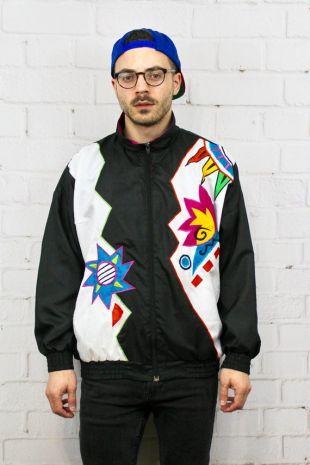 Vintage 80 ' s coupe-vent | Unisexe Zig Zag noir & blanc motif géométrique Track Jacket | Coupe-vent Ugly Party rétro | Moyen