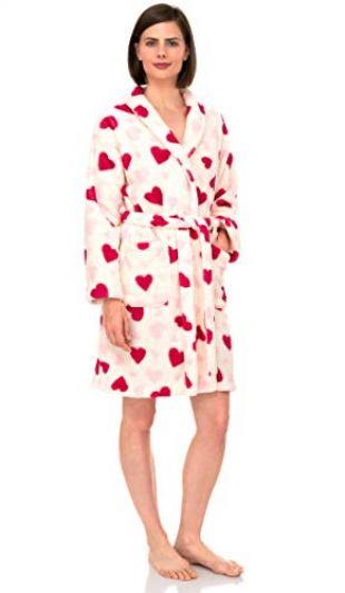 TowelSelections Women's Robe, Plush Fleece Short Spa Bathrobe Medium Ivory Hearts