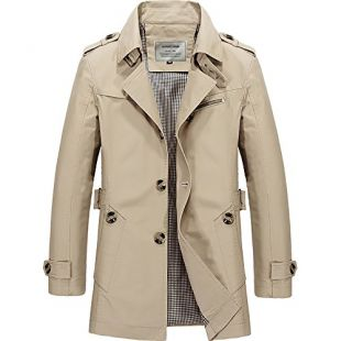 DAVID.ANN Men's Windbreaker Notch Lapel Single Breasted Coat,Light Khaki,Medium