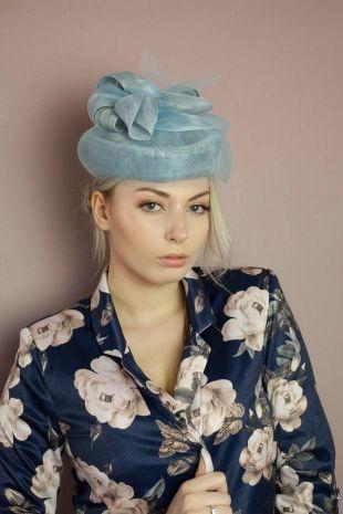 Chapeau mariage bleu pour femme - Chapeau bibi bleu - Accessoire de tête mariage - Création Française - Capeline Le Texier
