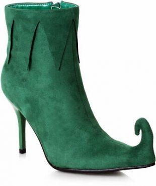 "Ellie Elf Green 3"" Microfiber Pointy Bootie Boots Christmas Adult Women  | eBay"
