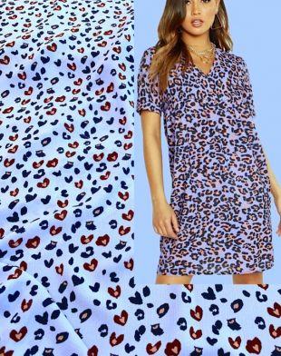 Tissu imprimé léopard, crêpe lilas de lavande, modèle Safari De la jungle animale, pyjama de robe de chemise, par 1 yard