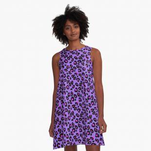 Bright Purple Leopard Spots Animal Print Pattern A-Line Dress