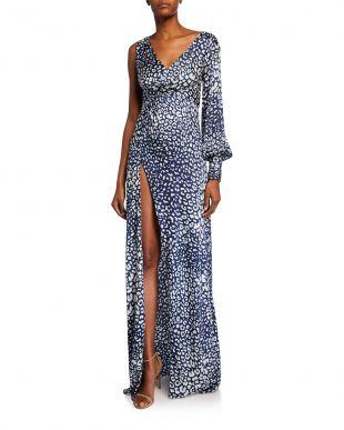 One-Shoulder High-Slit Leopard-Print Gown