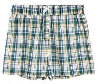 Latuza Women's Sleepwear Cotton Plaid Pajama Boxer Shorts M Green