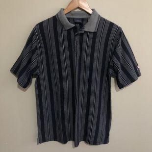 Maintenant Golf Vertical Striped Stripes Vintage 90's Polo Shirt Blue Grey Mens Large