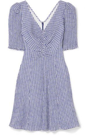 Frites Gingham Stretch Seersucker Mini Dress