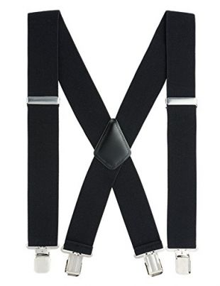 Mens Suspenders X-Back 2'' Wide Adjustable Elastic Strong Clips Suspenders by Grade Code