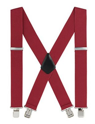 Men Suspenders, with Heavy Duty Clip 2'' Wide X-Back Suspenders Men Red