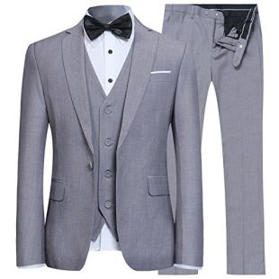 Men's Slim Fit 3 Piece Suit One Button Blazer Tux Vest & Trousers, Light Grey, Medium